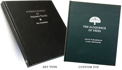 personalize books with custom foil stamped titles and logos